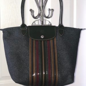 Longchamp LePliage Wool and Patient Leather Tote
